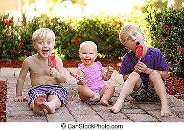 sommer, essende, drei, popsicles, draußen, fruechte, kinder, tag