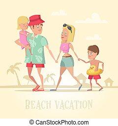 sommer, familie, vacation., abbildung, holidays., vektor, sandstrand, hallo, glücklich