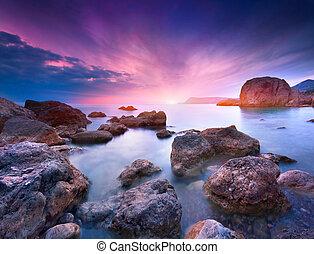 sommer, farverig, seascape