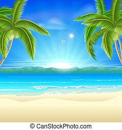 sommer feiertag, sandstrand, hintergrund
