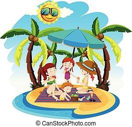 sommer feiertag, sandstrand