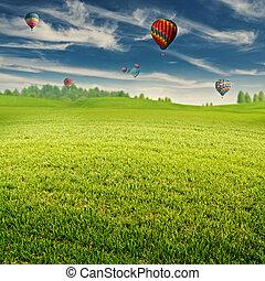 sommer, feld, mit, los, von, luft, luftballone, aus, horizont, abstrakt, lan
