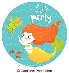 sommer, firmanavnet, cute, fish, text., lad os, vektor, konstruktion, hav, pige gilde, cartoon, havfrue
