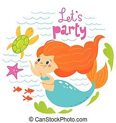 sommer, firmanavnet, cute, fish, vektor, konstruktion, hav, pige, cartoon, havfrue