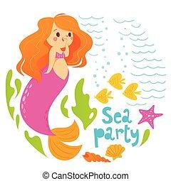 sommer, firmanavnet, cute, fish, vektor, konstruktion, hav, pige gilde, cartoon, havfrue