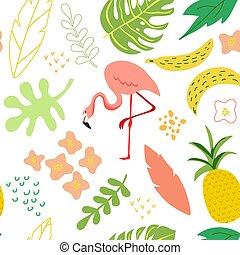 sommer, flamingo, banner, plakat, card, enkel, forår, seamless, lejlighed, hils, afdækket, blade, vektor, illustration, baggrund mønster, trendy, planter, blomster, firmanavnet