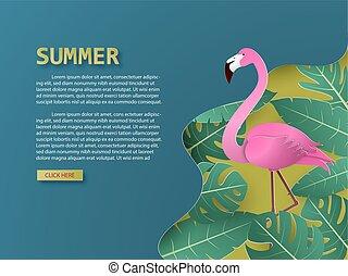 sommer, flamingo, blade, fugl, tropisk, skære, håndflade, avis, baggrund, style.
