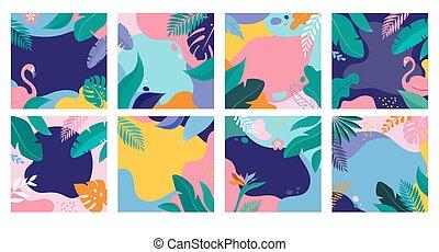 sommer, flamingo, lejlighed, blade, moderne, omsætning, baggrund, tropic, plakater, banner, style.