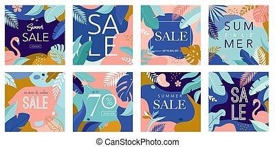 sommer, flamingo, lejlighed, plakat, blade, moderne, omsætning, illustration, vektor, baggrund, tropic, banner, style.