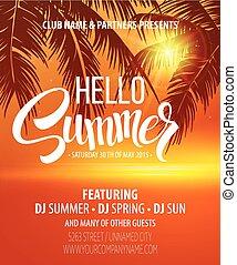 sommer, flyer., vektor, design, party, sandstrand, hallo