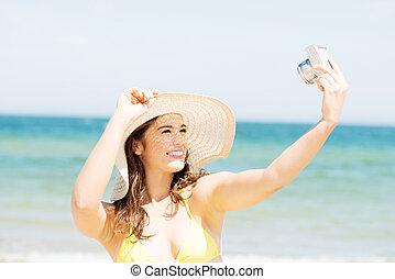 sommer, frau, bilder, sprechende , fotoapperat, digital
