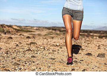 sommer, frau, läufer, athlet, folgen lauf, beine