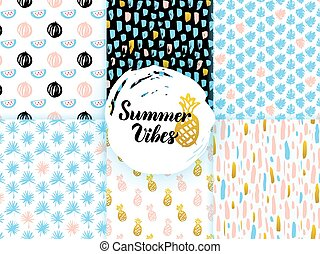 sommer, funky, seamless, muster