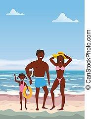 sommer, gehen, strand., töchterchen, meer, familie, plakat, baner, vater, urlaub, abbildung, freigestellt, sand, vektor, ocean., mutter, genießen, sandstrand, glücklich