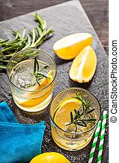 sommer, getränk, limonade, cocktail, rosmarin