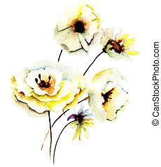 sommer, gul blomstrer
