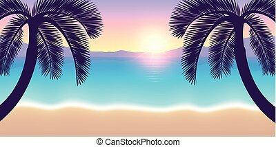 sommer, handflächen, urlaub, sonnenuntergang, paradies, sandstrand