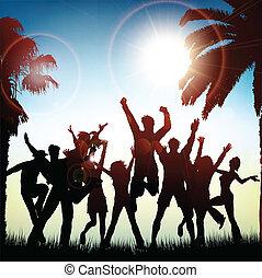 sommer, hintergrund, party