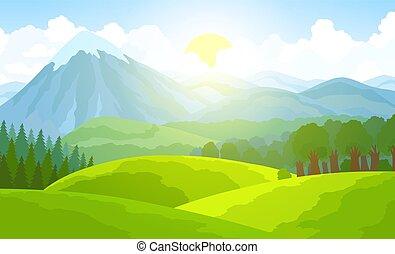sommer, illustration., berg, vektor, grün, tal, landschaft.