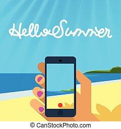 sommer, illustration., bild, foto, machen, urlaub, sandstrand, telefon, vektor, nehmen, hände, halten, oder, klug, schablone