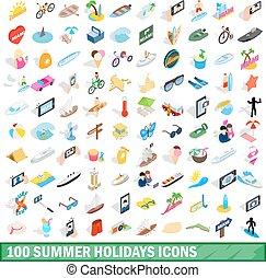 sommer, isometrisch, heiligenbilder, satz, stil, feiertage, 100, 3d