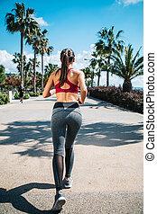 sommer, jogging, frau, junger, anfall
