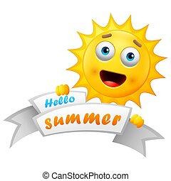 sommer, karikatur, hintergrund, sonne, glücklich