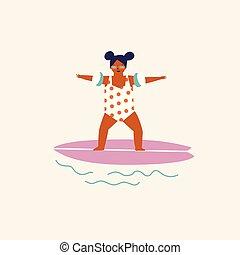 sommer kids, card., plakat, rejse, illustration, surfing, vector., eller