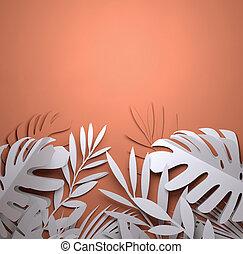 sommer, kunst, blätter, -, papier, handfläche