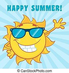 sommer, lächeln glücklich, text, sonne