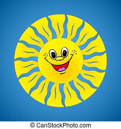sommer, lächeln, hintergrund, gelbe sonne