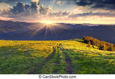 sommer, landskab, colorful bjerge