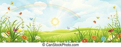 sommer, landskab, regnbue