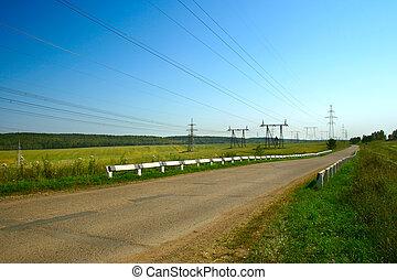 sommer, landskab, vej, landlige