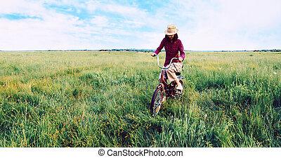 sommer, m�dchen, Hüfthose, Radfahren,  Teenager