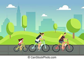 sommer macht spaß, radfahren, familie, leute, gesunde, bicycles., reiten, bike., sport, park., aktiver lebensstil, glücklich