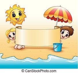 sommer macht spaß, rollen, sonne, papier, besitz, lächeln, sandstrand, schirme