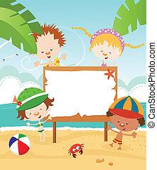 sommer, meddelelse, kids'