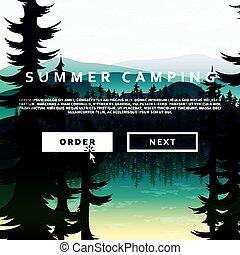 sommer, natur landskab, baggrund, i, bjerge, skove, og, floder