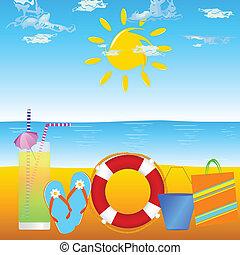 sommer, og, strand