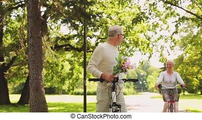 sommer, paar, park, bicycles, reiten, älter, glücklich