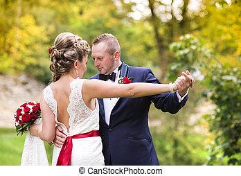 sommer, Paar,  wedding, Wiese, junger