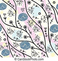 sommer, pflanze, hintergrundmuster, abstrakt, seamless, cats., skandinavisch, stilisiert, design, vector., blumen, style.