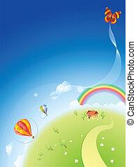 sommer, planet, mit, a, regenbogen, und, b.a.