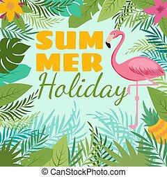 sommer, plante, flamingo, moderne, dekoration, vektor, baggrund, tropic