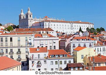 sommer, portugal, sonniger tag, lissabon, ansicht