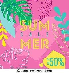 sommer, reklame., forår, moderne, specielle, firmanavnet, tropisk, flyer., glimt, ferie, blomster, tropic, lejlighed, plakat, baggrund, banner, flamingoes, byde, omsætning, blade, vektor, reklame.
