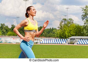 sommer, rennender , frau, junger, stadion