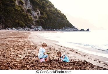 sommer, sand, zwei, spielende , holiday., kleinkind, sandstrand, kinder