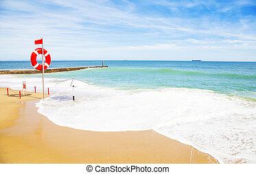 sommer, sandstrand, bunte, foto